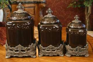 Tuscan Drake Design Onyx Black Ceramic Kitchen Canisters