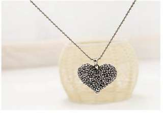 silver Nice Ancient Flower Heart Retro Style Sweater Necklace x135