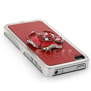 RED 3D FLOWER CRYSTAL BLING BACK CASE FOR IPHONE 4 4G