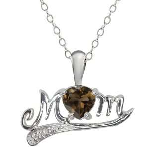 45 Ct Heart Shape Brown Smoky Quartz and Topaz 18k White Gold Pendant