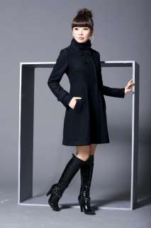 Womens Wool Cashmere Winter Long Coat in 4 Colors