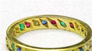 18k Yellow Gold Sapphire Emerald Ruby Diamond Ring Band 1960s Custom