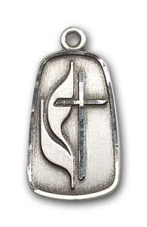 Silver Methodist Cross Medal Pendant Necklace Jewelry