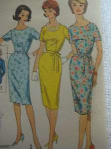VTG Simplicity 4252 Women SLIM BELTED DRESS Sew Pattern