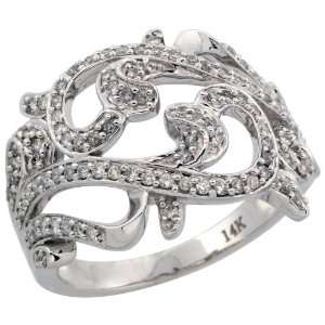 14k White Gold Contemporary Wave Diamond Ring, w/ 0.50 Carat Brilliant