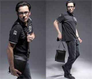 New Black Mans Real Leather Handbag Shoulder Bag AR56