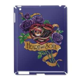 iPad 2 Case Royal Blue of Heart and Soul Roses and Motorcycle Engine