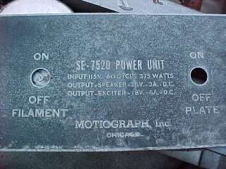 MOTIOGRAPH TUNGAR POWER SUPPLY For WE555 /597 WE49 W.E. Preamp And RCA