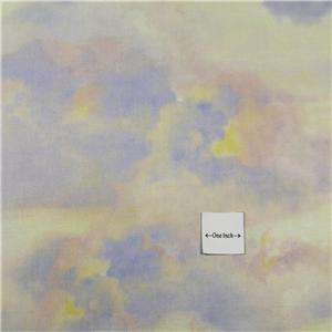 Wilmington Cotton Fabric Beautiful Blue, Pink, Yellow, Gold Clouds By