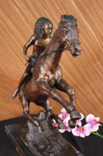 Signed Extra Large Remington Native American Warrior on Horse Bronze