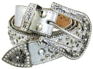 Crystal Rhinestone Studded Silver Leather Western Belt Shoes