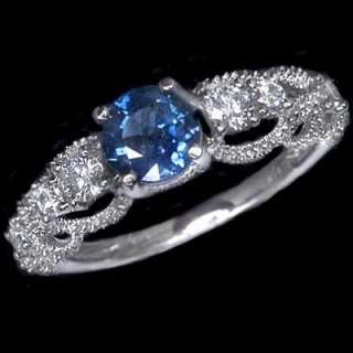 41ct NATURAL KASHMIR BLUE SAPPHIRE DIAMONDS VINTAGE STYLE ENGAGEMENT