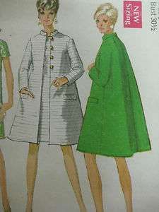 Vintage 60s Simplicity 7441 A LINE COAT & DRESS Sewing Pattern Women