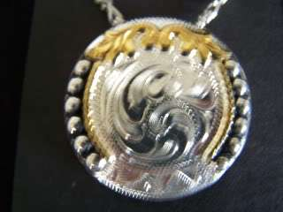 WESTERN STERLING SILVER AND GOLD PLATED CONCHO NECKLACE~