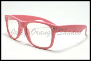 NERDY Retro 80s OLD SCHOOL Classic CLEAR LENS Eyeglasses MATTE PINK
