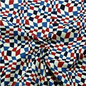 Benartex Cotton Fabric, Red, White & Blue Geometric Abstract FQs
