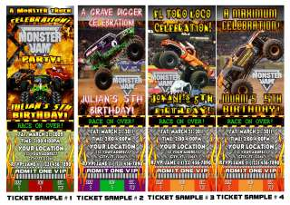 MONSTER JAM TRUCK BIRTHDAY PARTY INVITATIONS FAVORS