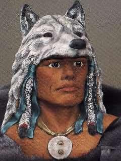 Ceramic Indian Brave in Wolf Headdress Ready to Paint~