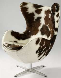 Arne Jacobson Egg Lounge Chair In Pony Hide Brown and White, Bubble