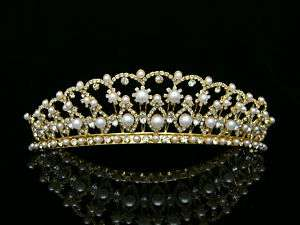 Gold Bridal Wedding Veil Crystal Pearl Crown Tiara 9394
