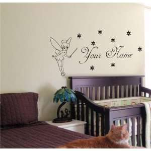 BABY NAME TINKERBELL FAIRY WALL STICKER BOY GIRL ROOM 08 Home