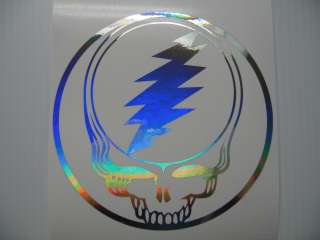 Silver Holograph Grateful Dead Steal Your Face Decal