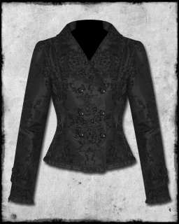 SPIN DOCTOR BLACK FLOCKED STEAMPUNK GOTH VICTORIAN WOMENS HELIA JACKET