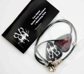 Black Veil Brides Guitar Pick Black Leather Necklace