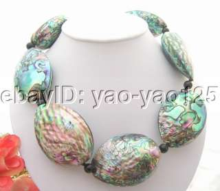 Rare Big Natural 43x58mm Paua Abalone Shell Necklace