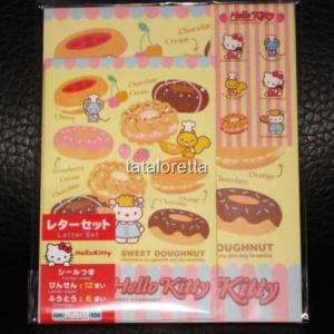 Japan Sanrio Hello Kitty Donut Letter Set w/ Sticker