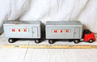 RARE VINTAGE ALPS JAPAN GMC DOUBLE SIE TRACTOR TRAILER TRUCK 15 INCHES