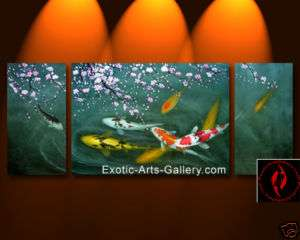 Modern Abstract Art Chinese Koi Fish Feng Shui Painting