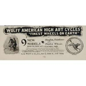 1896 Ad Wolff American High Art Cycle Bicycle Wolf RARE