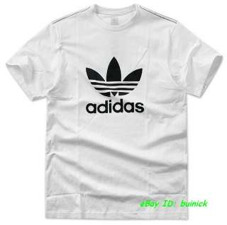 ADIDAS TREFOIL LOGO TEE SHIRT White Black superstar M