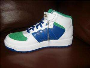ADIDAS FORUM MENS WHITE BLUE GREEN HIGH TOP BASKETBALL SHOE SNEAKER
