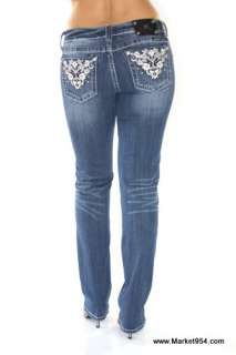 Women Miss Me Jeans White Leather Paisleys w crystals STRAIGHT LEG