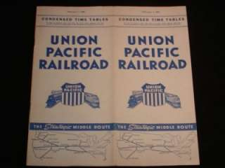 UNION PACIFIC RAILROAD Vintage Condensed Time Tables Schedule, Feb. 1
