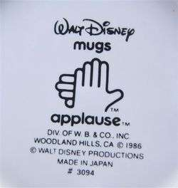 APPLAUSE WALT DISNEY MICKEY MOUSE Ceramic Mug 1986