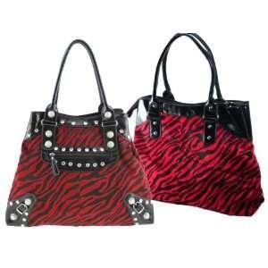 Extra Large Red Zebra Design Handbags with Acrylic Stone