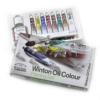 Winsor & Newton Winton Oil Colour Painting Set set of 7 with brushes