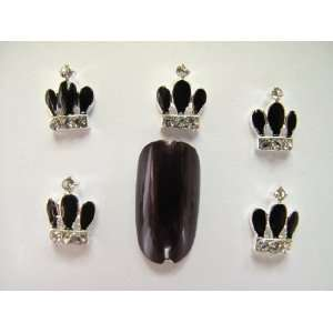 Nail Art 5 Pieces Black CROWN Metal Rhinestones for Nails, Cellphones
