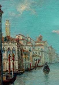 Antique Italian Impressionist Oil Painting Venice