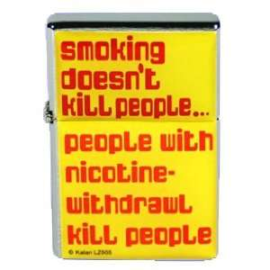 New Novelty Fun Smoking DoesnT Kill People Metal Flip Top Lighter