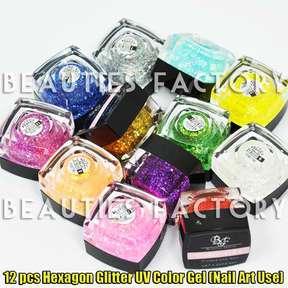 12 color hexagon glitter colour uv gel nail art 299 product code 299