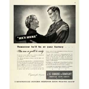1945 Ad J E Sirrine Engineering WWII War Mother Military Soldier Son