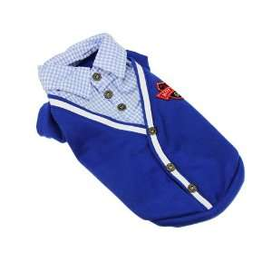 Pet Clothes T Shirt Collar Top Outfit Blue Noble Western Suit Outer