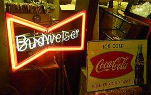 Vintage Budweiser Beer Bow Tie Neon Light Bar Sign