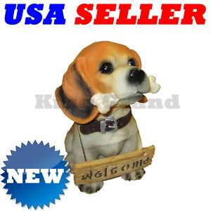 NEW Brittany Puppy Dog w/Bone Statue Coin Money Bank