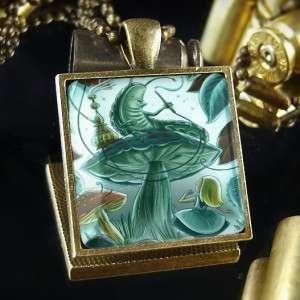 Caterpillar Alice in Wonderland Antique Bronze Pendant Necklace 084 SB