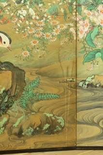WAJIN b87 Japanese antique BYOBU folding screen FLOWER & BIRDS 19C